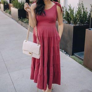 Dark pink maxi/midi dress with pockets